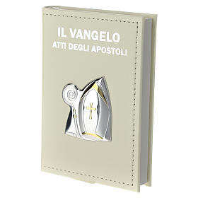 Confirmation gospel in leather imitation with pouch and double laminated silver application s2