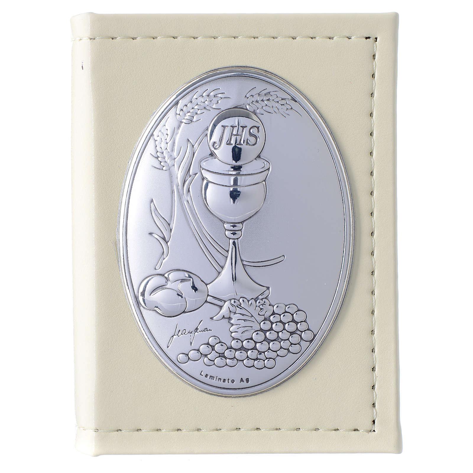Evangelio en ITALIANO Primera Comunión de simil cuero y placa plata 3