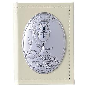 Evangelio en ITALIANO Primera Comunión de simil cuero y placa plata s1