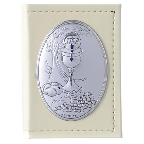 Evangelio en ITALIANO Primera Comunión de simil cuero y placa plata 1