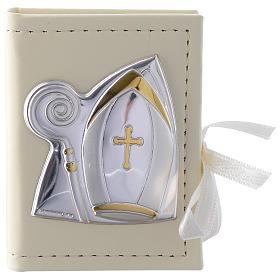 Caja para rosario Confirmación de simil cuero e imagen bilaminado plata s1