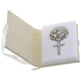 Caja para rosario Confirmación de simil cuero e imagen bilaminado plata s2