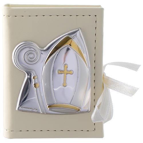 Caja para rosario Confirmación de simil cuero e imagen bilaminado plata 1