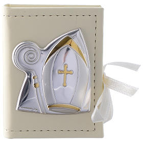 Confirmation rosary holder in leather imitation with image in double laminated silver s1