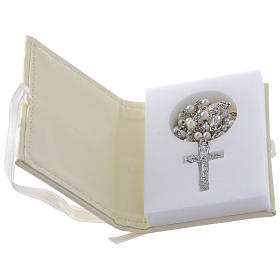 Confirmation rosary holder in leather imitation with image in double laminated silver s2