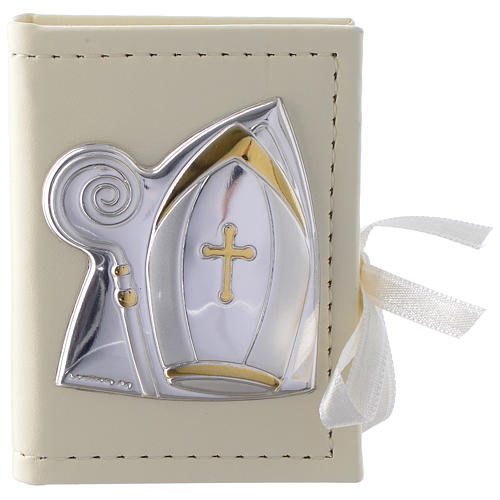 Confirmation rosary holder in leather imitation with image in double laminated silver 1