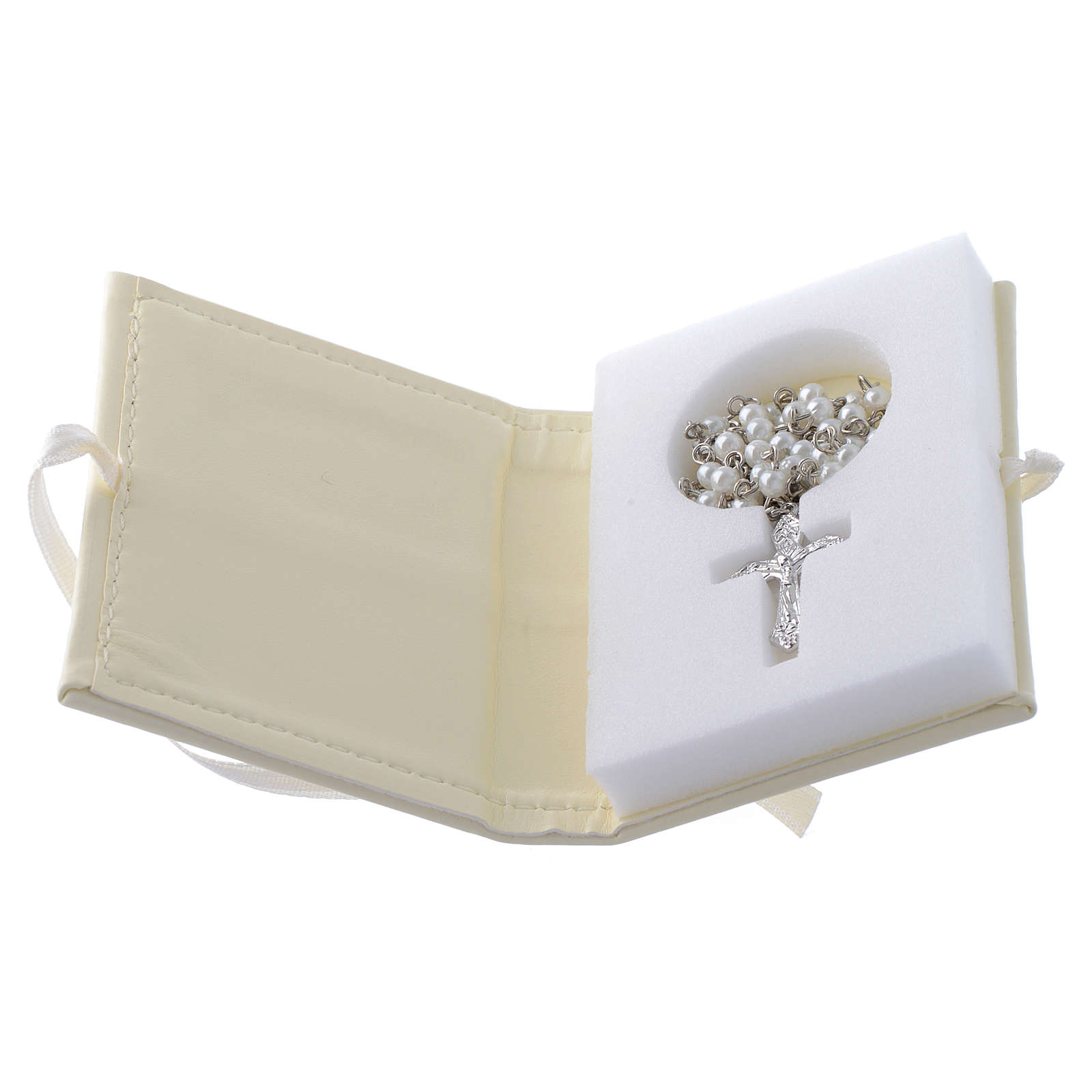 Communion rosary holder in leather imitation with image in double laminated silver 3