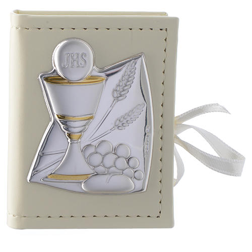 Communion rosary holder in leather imitation with image in double laminated silver 1