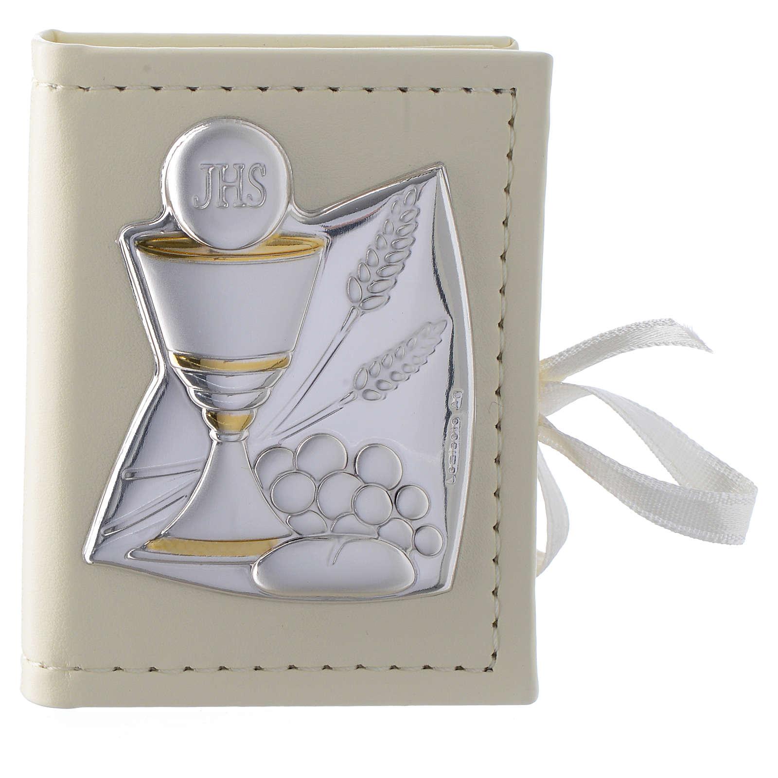 Portarosario Comunione in similpelle e immagine bilaminato argento 3
