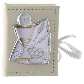 Portarosario Comunione in similpelle e immagine bilaminato argento s1