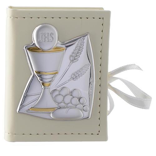 Portarosario Comunione in similpelle e immagine bilaminato argento 1