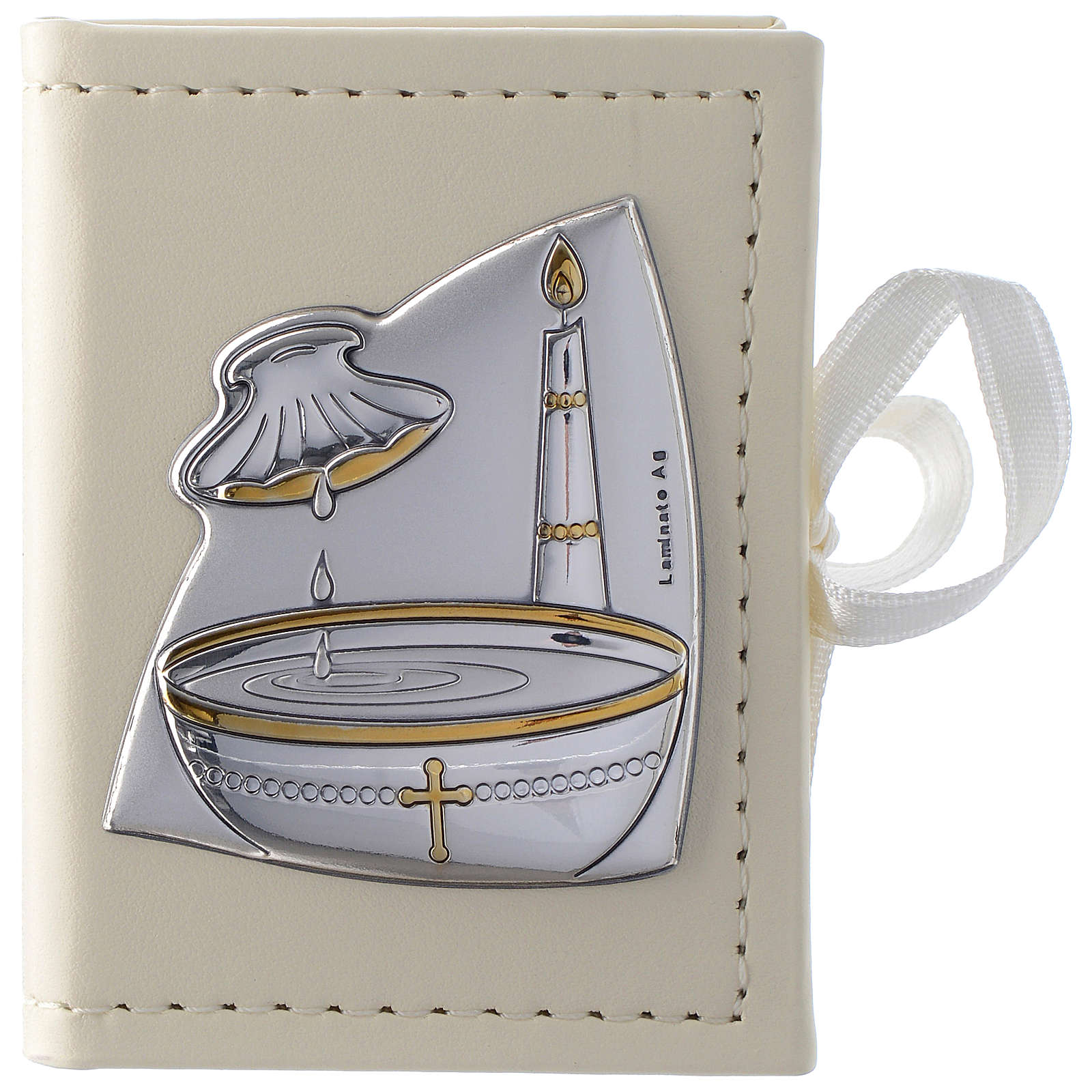 Custode chapelet Baptême en imitation cuir et image bilaminé argent 3