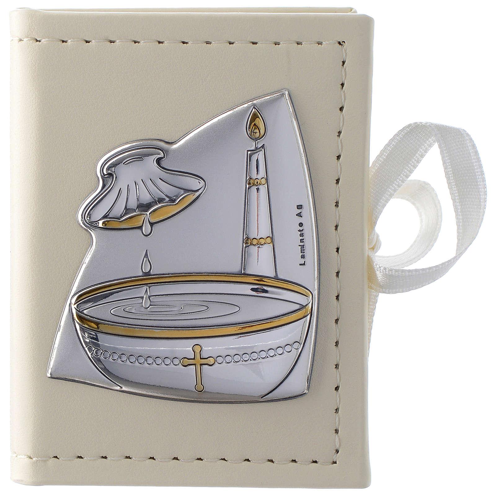 Porta rosario Battesimo similpelle e immagine bilaminato argento 3