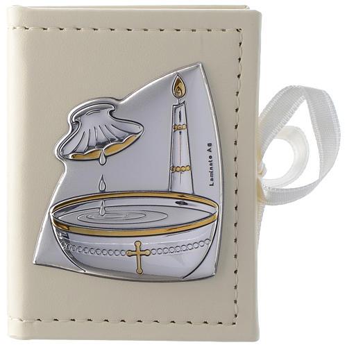 Porta rosario Battesimo similpelle e immagine bilaminato argento 1