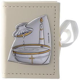 Caixinha terço Batismo imitação couro e imagem bilaminado prata s1