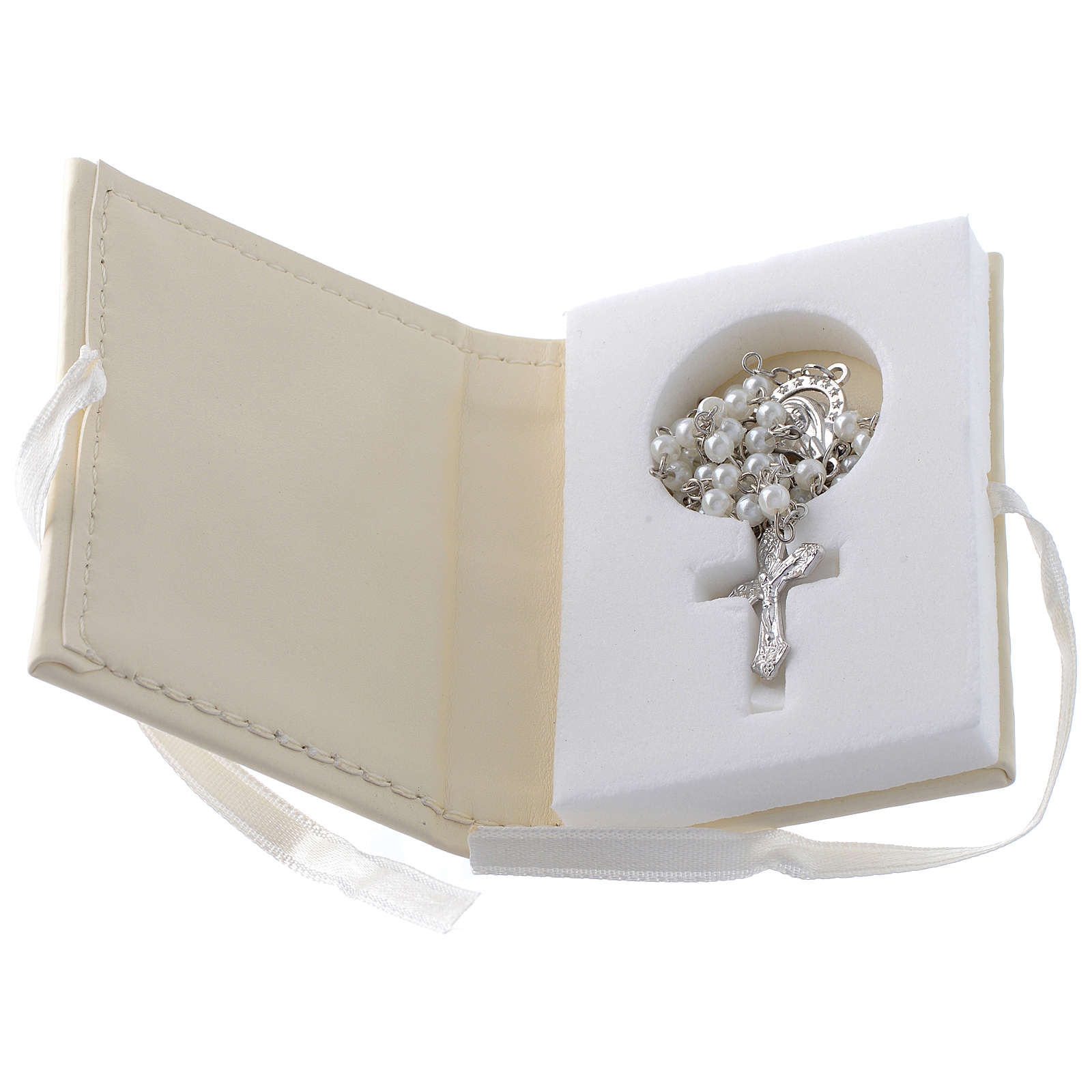 Baptism rosary holder in leather imitation with image in double laminated silver 3