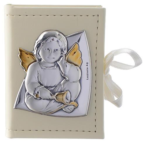 Rosenkranz zur Taufe in Etui aus Kunstleder und silbernem Engelsmotiv 1