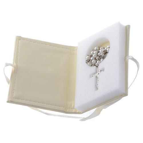 Rosenkranz zur Taufe in Etui aus Kunstleder und silbernem Engelsmotiv 2