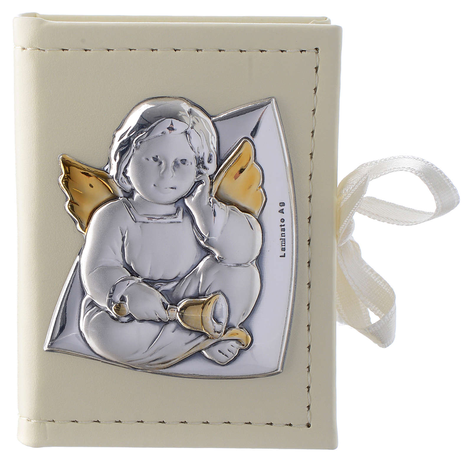 Baptism rosary holder in leather imitation with Angel image in double laminated silver 3
