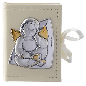 Baptism rosary holder in leather imitation with Angel image in double laminated silver s1