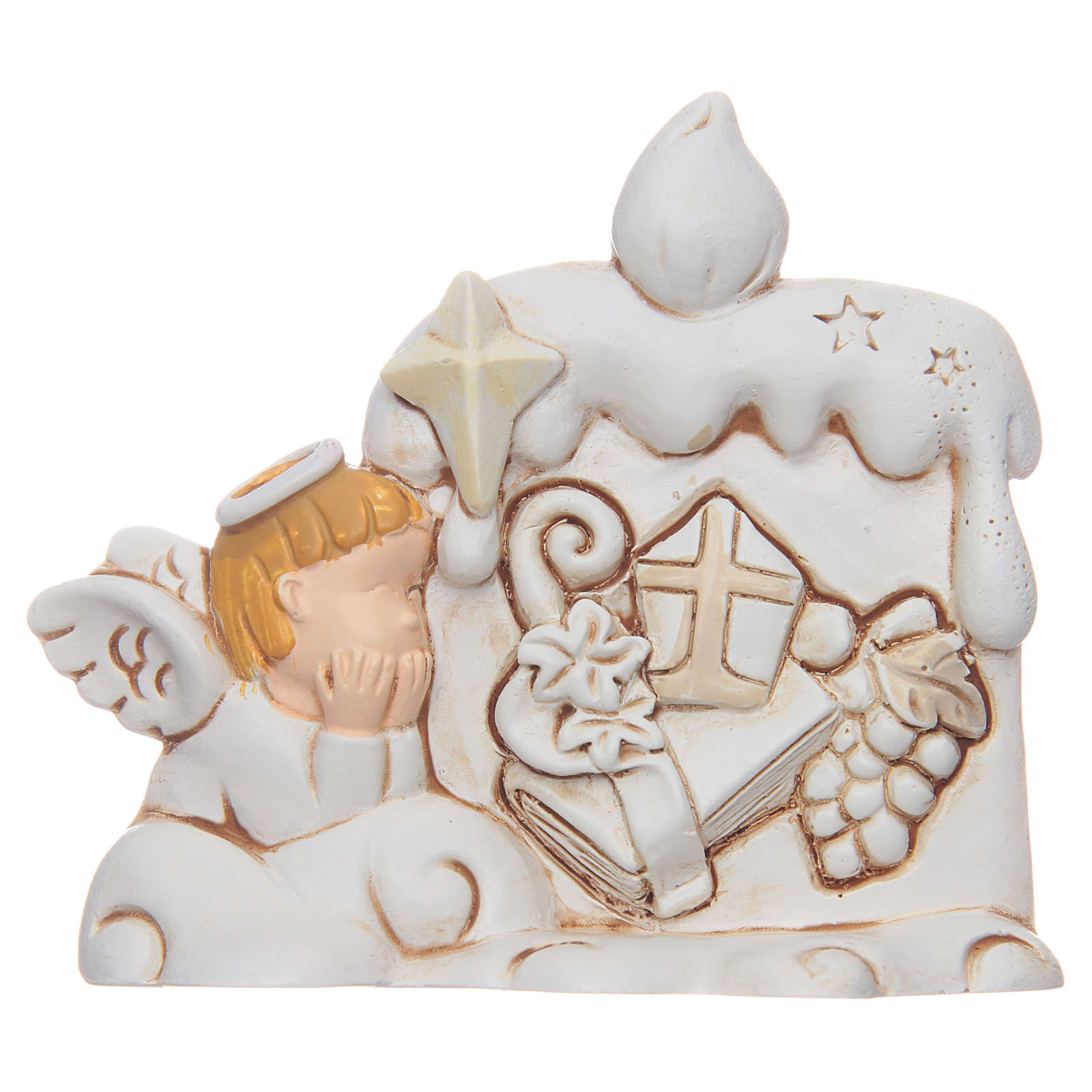 Confirmation bombonniere angel candle in resin 3
