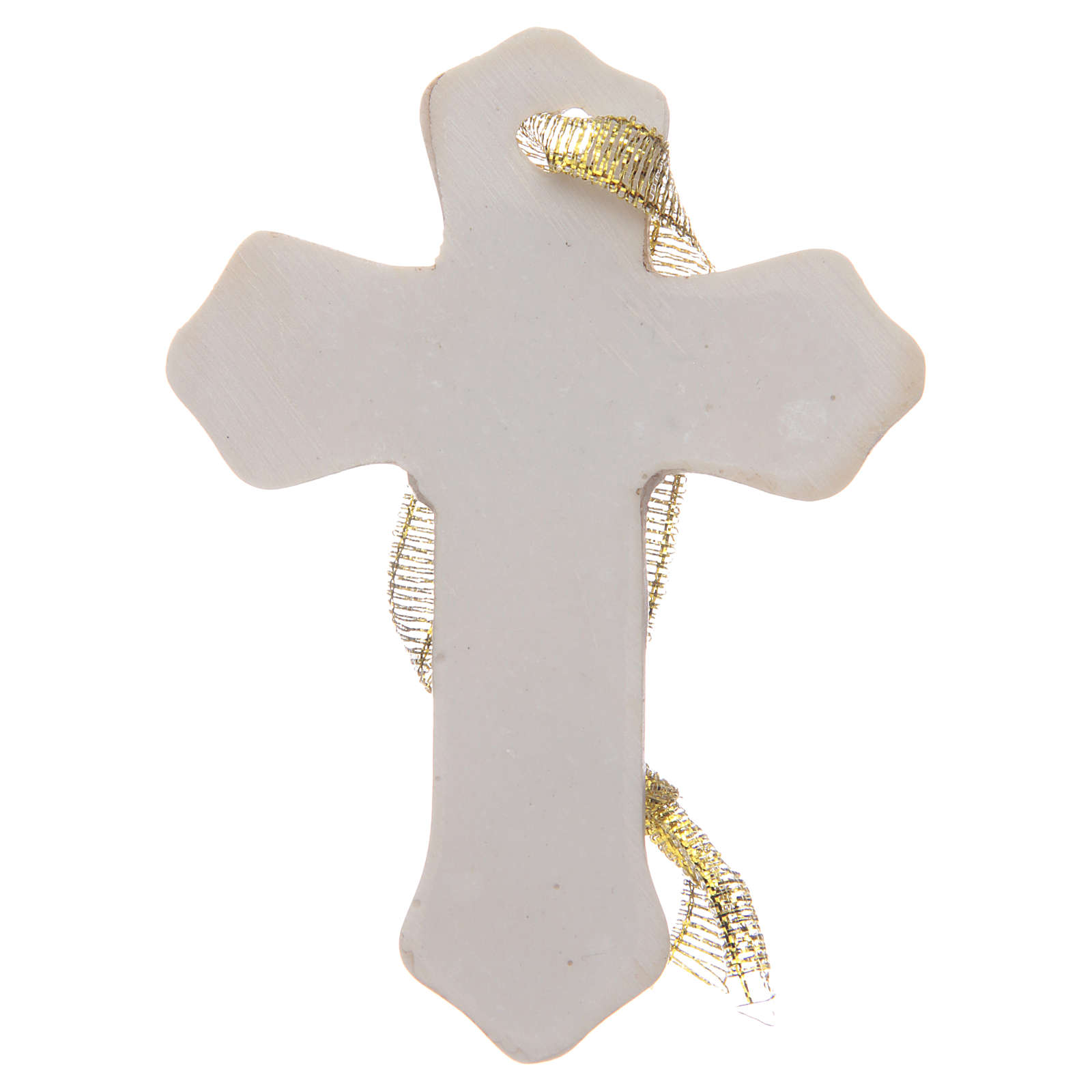 First communion bombonniere white cross in resin for girl 3