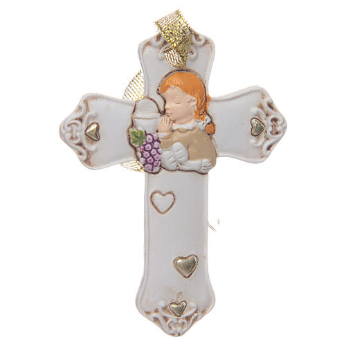 First communion bombonniere white cross in resin for girl 1