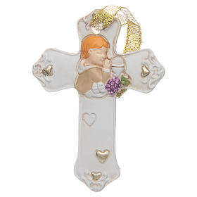 First communion bombonniere white cross in resin for boy s1