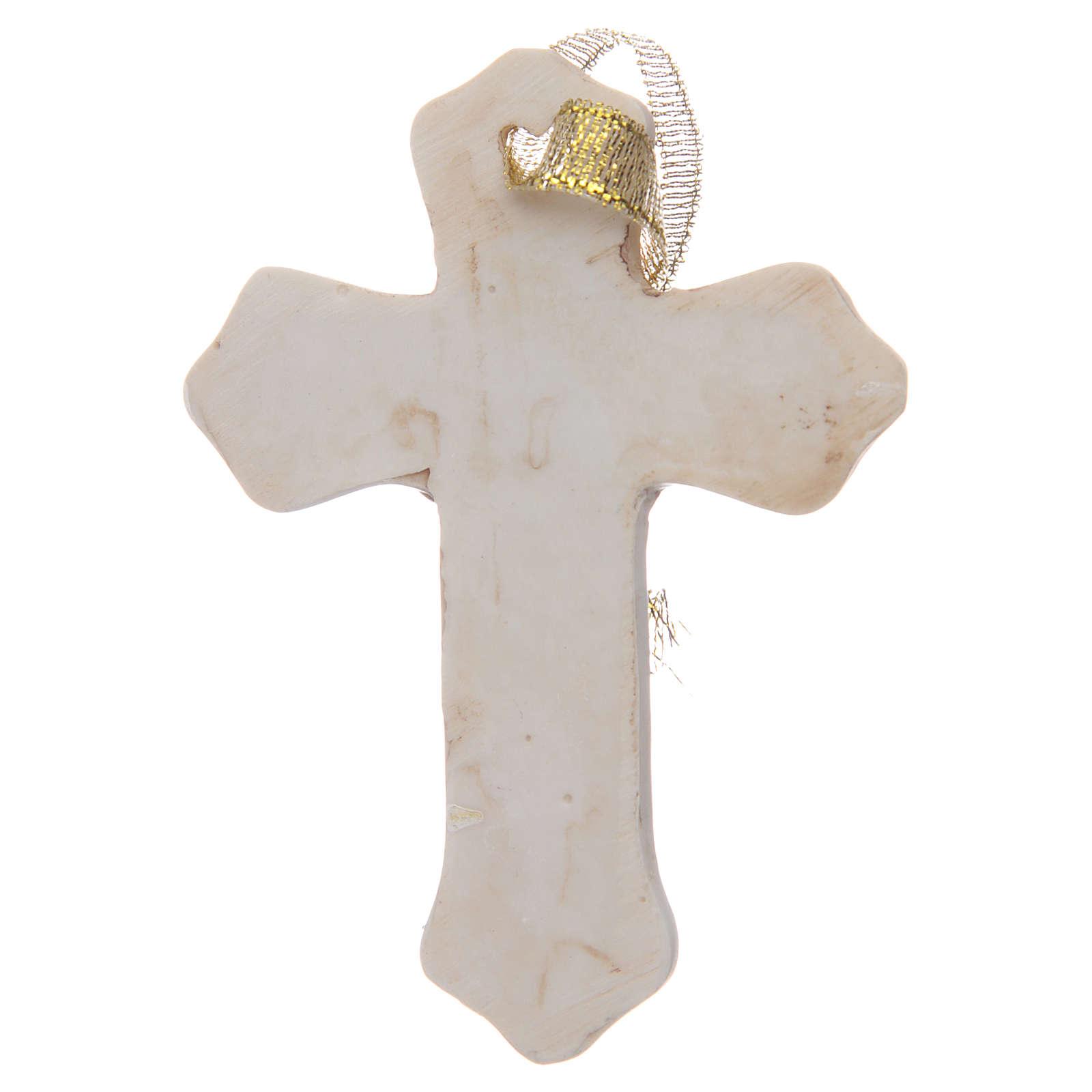 Bonbonnière Communion croix résine blanche garçon 3
