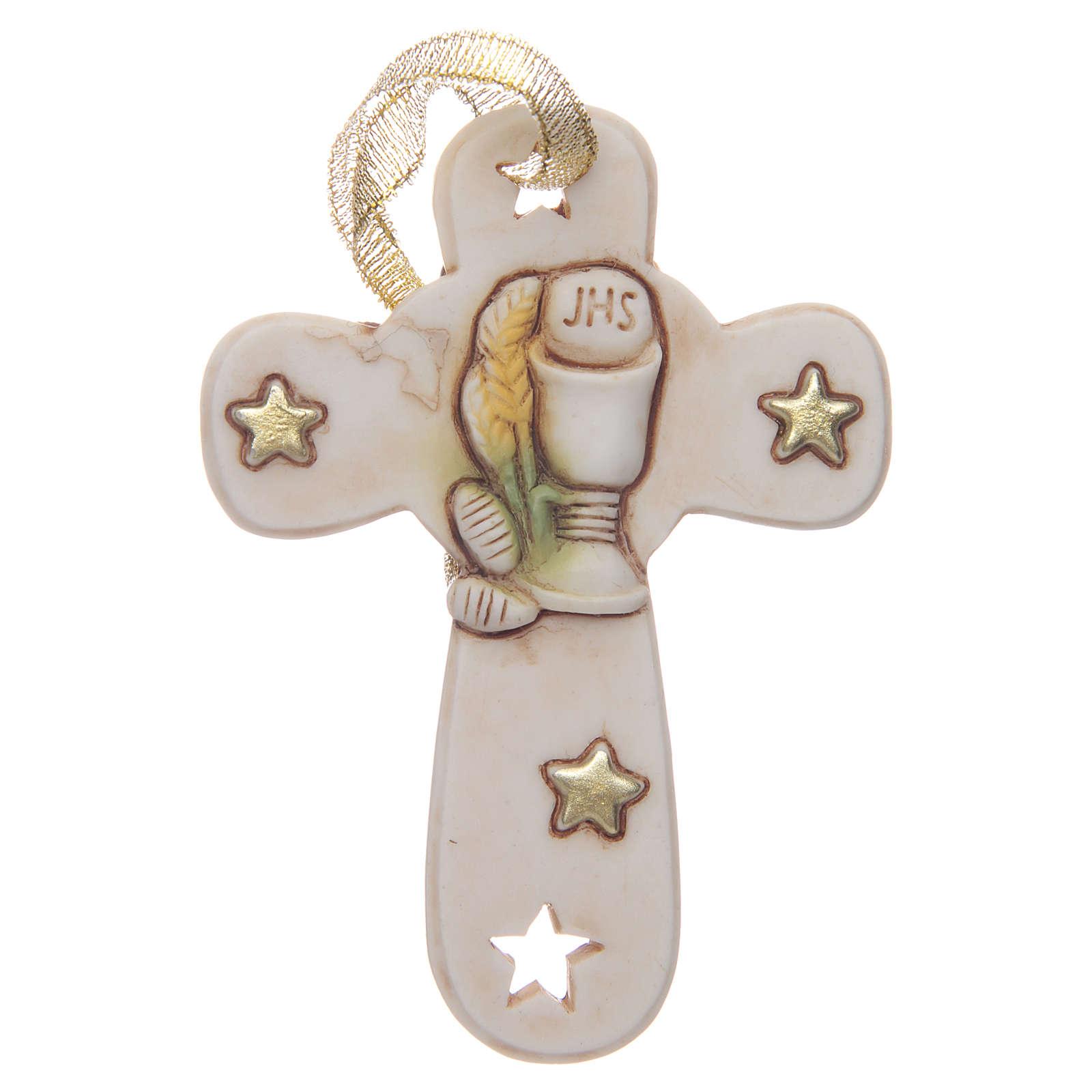 Regalo Primera Comunión cruz resina cáliz estrellas 3
