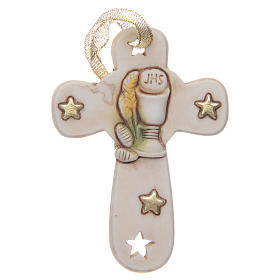 First communion bombonniere cross in resin with chalice and stars s1