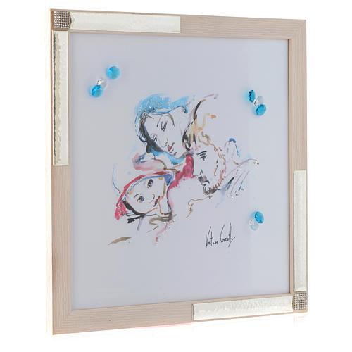 Cuadro Alegría de la Familia acuarela 36x36 cm plata y cristales 2
