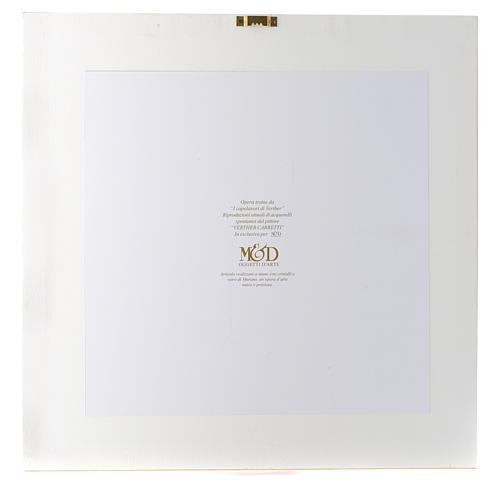 Quadro Gioia Familiare acquarello 36x36 cm argento e cristalli 3