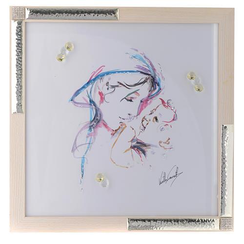 Idée cadeau cadre Mère Protectrice 36x36 cm argent cristaux 1