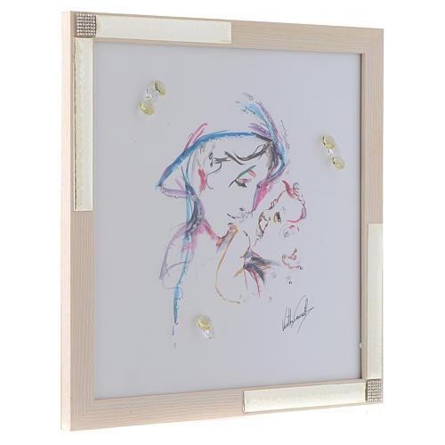 Idée cadeau cadre Mère Protectrice 36x36 cm argent cristaux 2