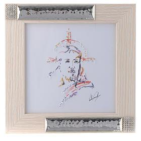 Idea Regalo Quadro Cristo Speranza acquarello Argento 16X16 s1