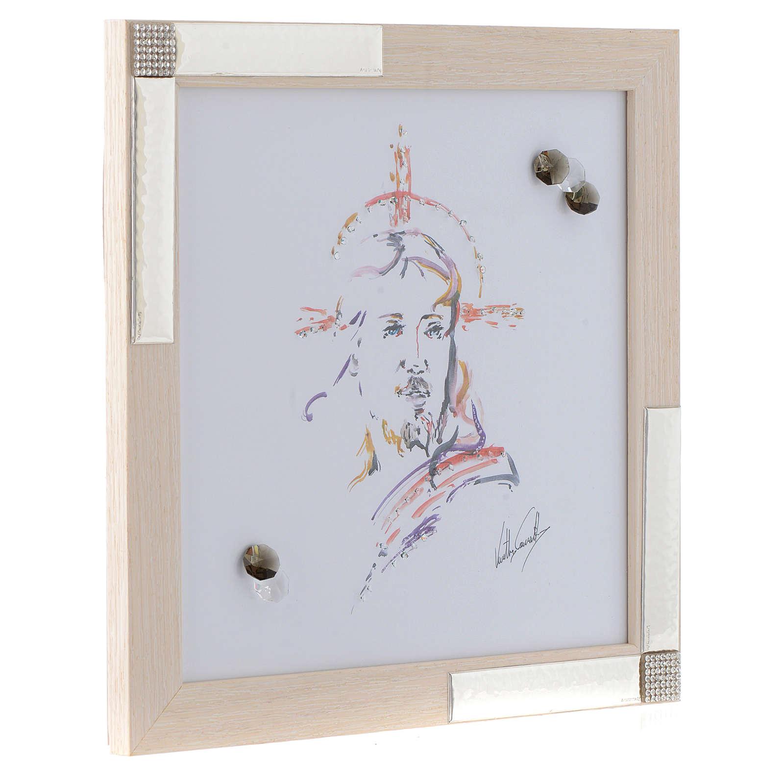Idée cadeau cadre Christ Espoir 27x27 cm argent cristaux 3