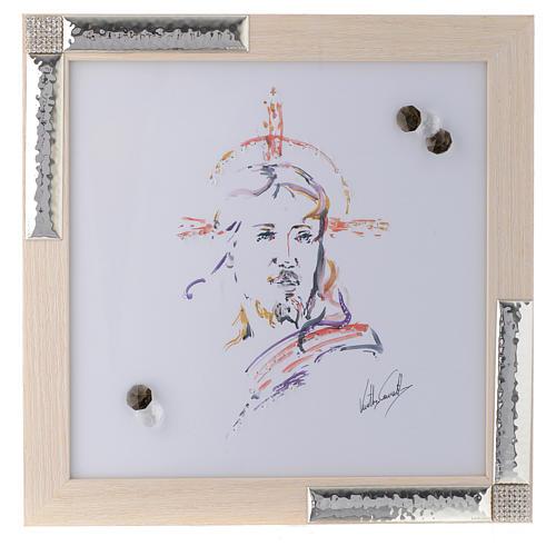 Idée cadeau cadre Christ Espoir 27x27 cm argent cristaux 1