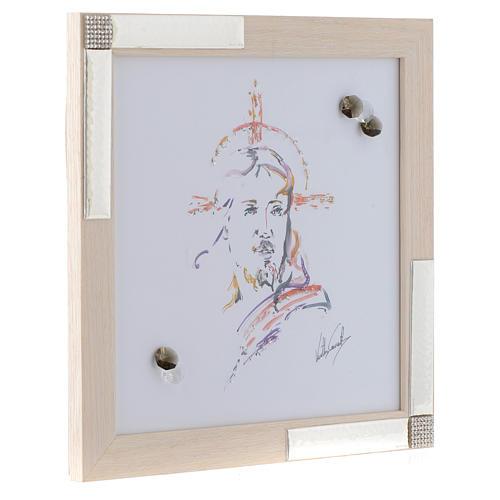 Idée cadeau cadre Christ Espoir 27x27 cm argent cristaux 2