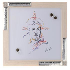 Idea regalo Quadro Cristo Speranza 27x27 argento cristalli s1