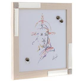 Idea regalo Quadro Cristo Speranza 27x27 argento cristalli s2