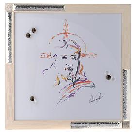 Cadre Christ Espoir aquarelle avec argent 36x36 cm s1