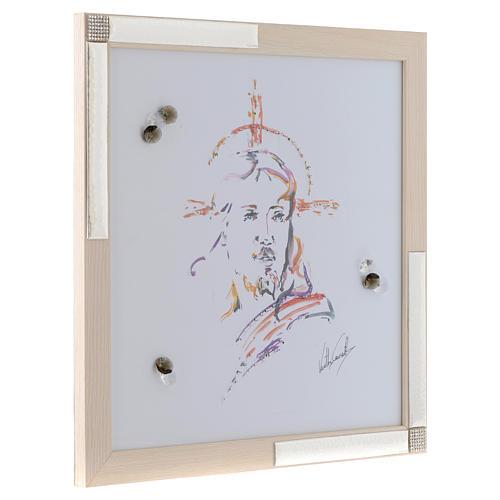 Cadre Christ Espoir aquarelle avec argent 36x36 cm 2