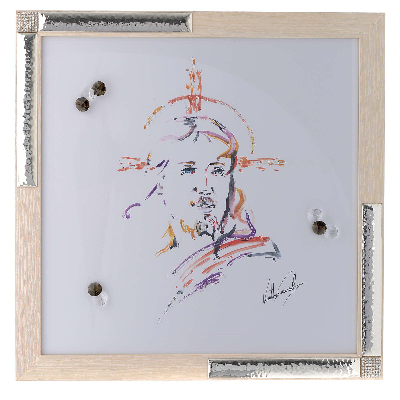 Quadro Cristo Speranza acquarello con argento 36x36 3