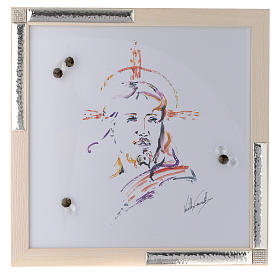 Quadro Cristo Speranza acquarello con argento 36x36 s1