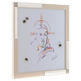 Quadro Cristo Speranza acquarello con argento 36x36 s2