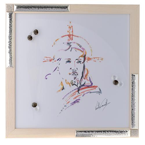 Quadro Cristo Speranza acquarello con argento 36x36 1