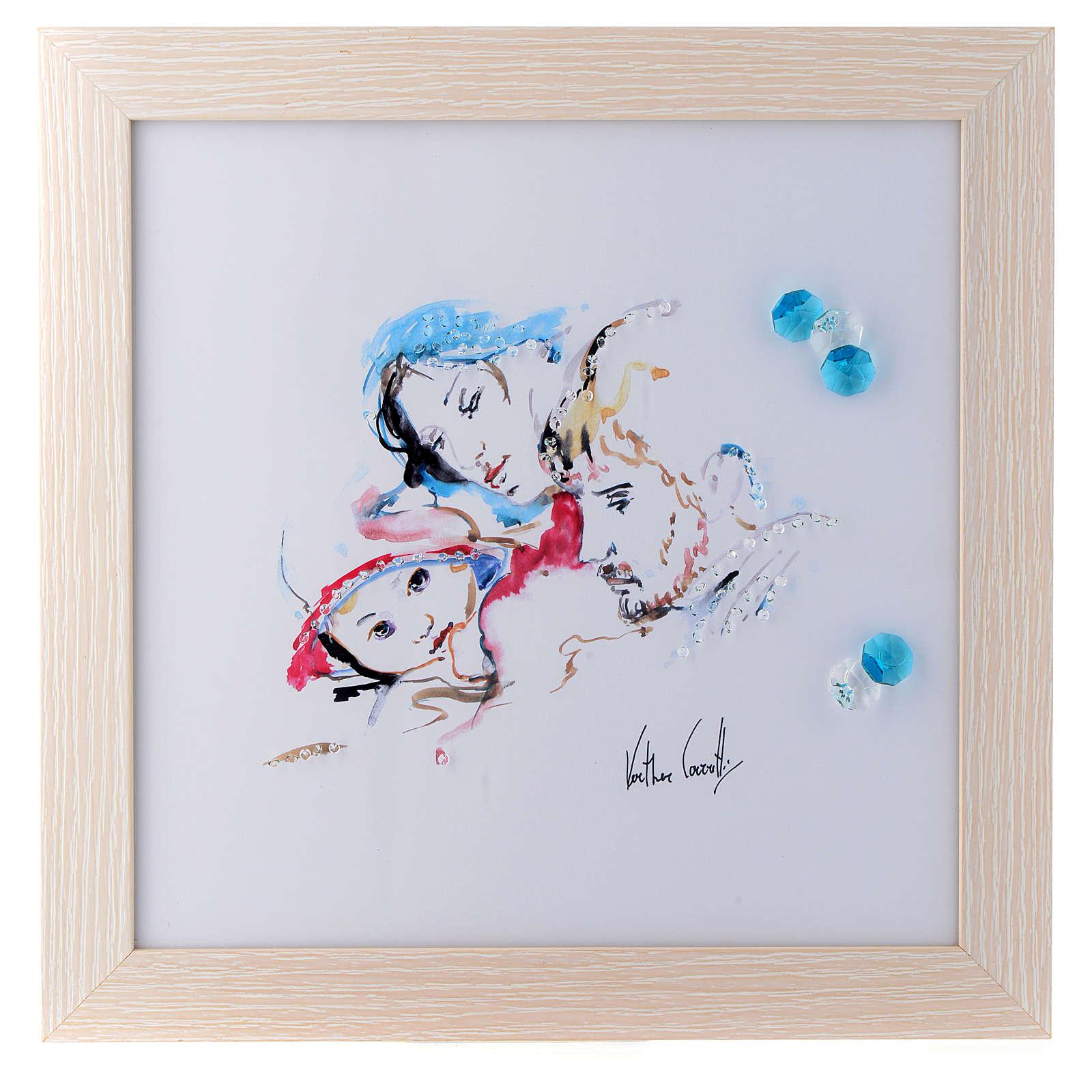 Cadre Joie Familiale 27x27 cm cristaux 3