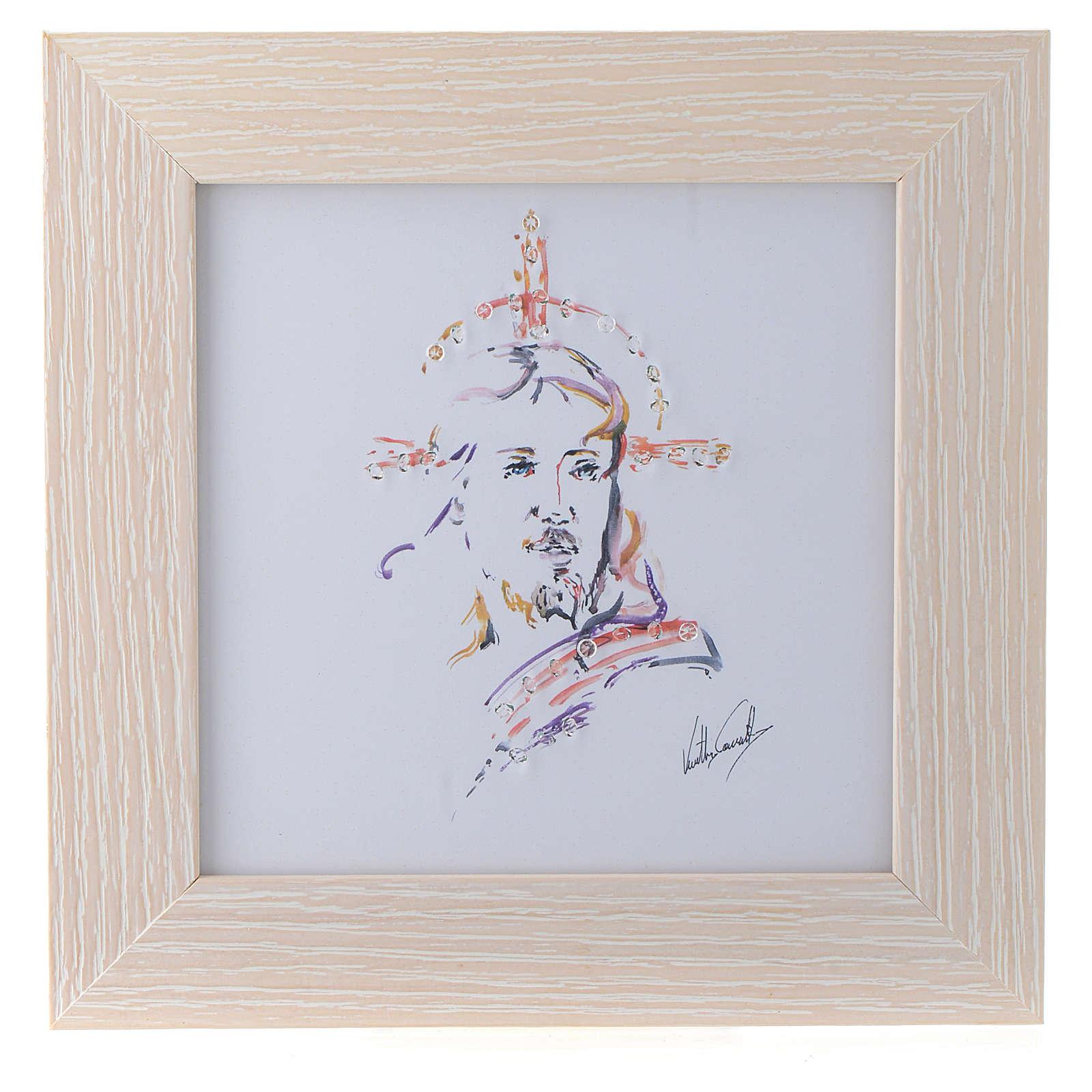 Quadro Cristo Speranza stampa acquarello 16x16 3