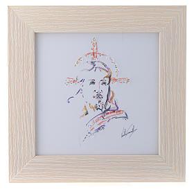 Quadro Cristo Speranza stampa acquarello 16x16 s1